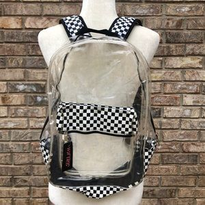 Hot Topic clear black checkerboard backpack, NWT
